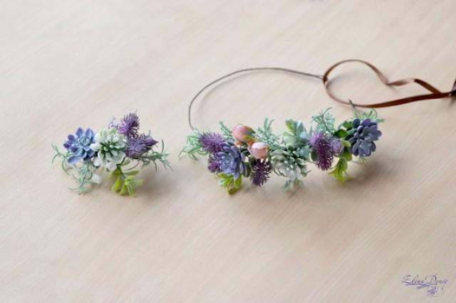 wedding photo - Green Purple Succulent crown Woodland hairband Succulent hair comb crown Set wedding greenery hair piece Succulent wedding crown bride