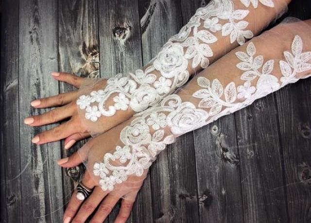 wedding photo - Ivory white long lace wedding gloves, french lace fingerless gloves, sophisticated lace wedding accessories