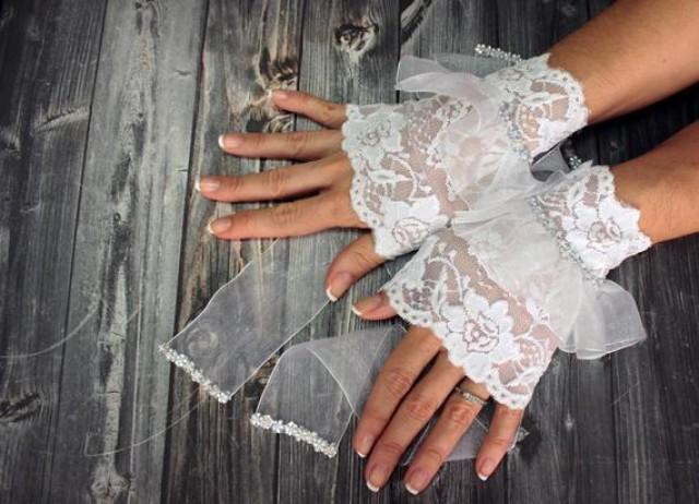 wedding photo - White lace wedding bridal cuff, strechy lace gloves, long ribbon gloves, beaded bridal wristlet glovelet, dance costume, white wrist cuffs