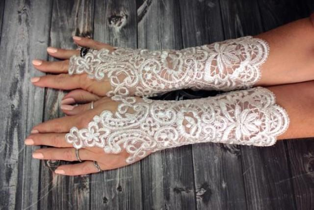 wedding photo - White wedding gloves bridal gloves lace gloves guantes french lace silver frame gloves fingerless gloves