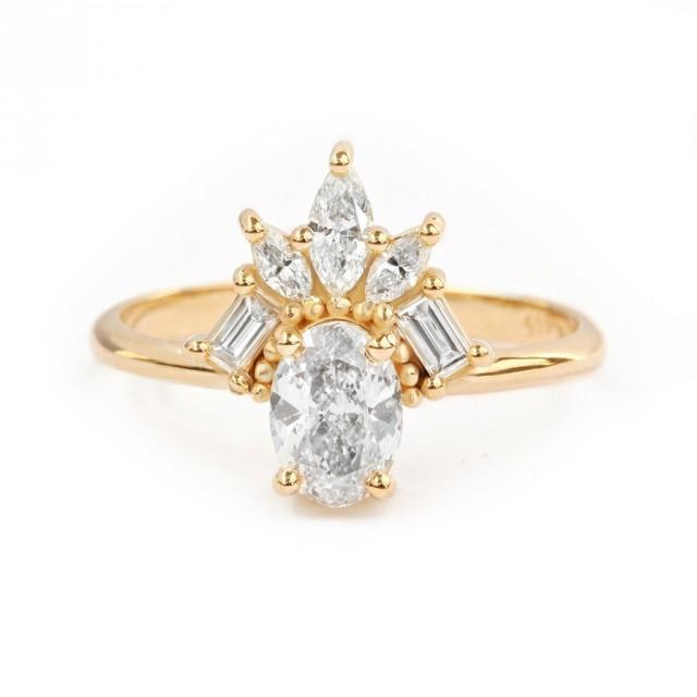 wedding photo - Gatsby Art Deco Oval Diamond Unique Engagement Ring