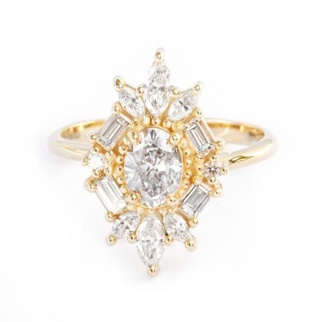 wedding photo - Great Gatsby Art Deco Oval Diamond Unique Engagement Ring