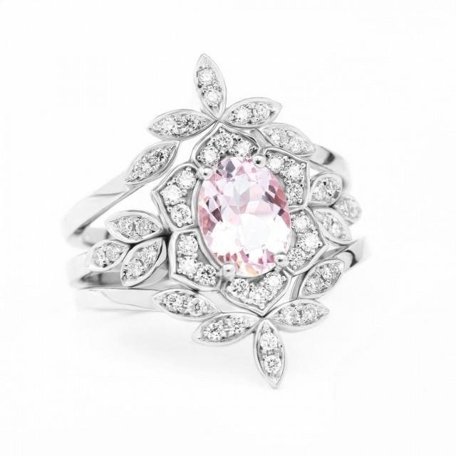 wedding photo - Lily Flower Oval Morganite & Diamond Bridal Three Rings Set