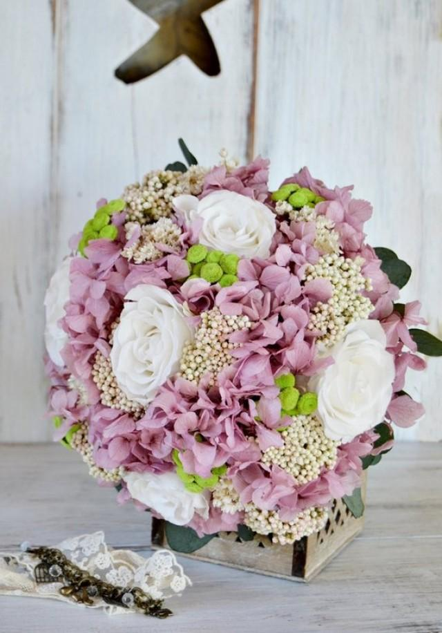 wedding photo - Rose Bridal Bouquet Preserved Flowers, Natural Bouquet Preserved & Dried Flowers, Pink White Green Bride Bouquet, Hydrangea Bouquet.