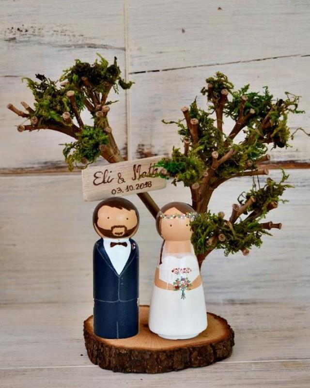 wedding photo - Woodland Cake Topper Figurines, Personalized Cake Topper with Tree, Woodland Cake Topper, Winter Unique Topper portrait.