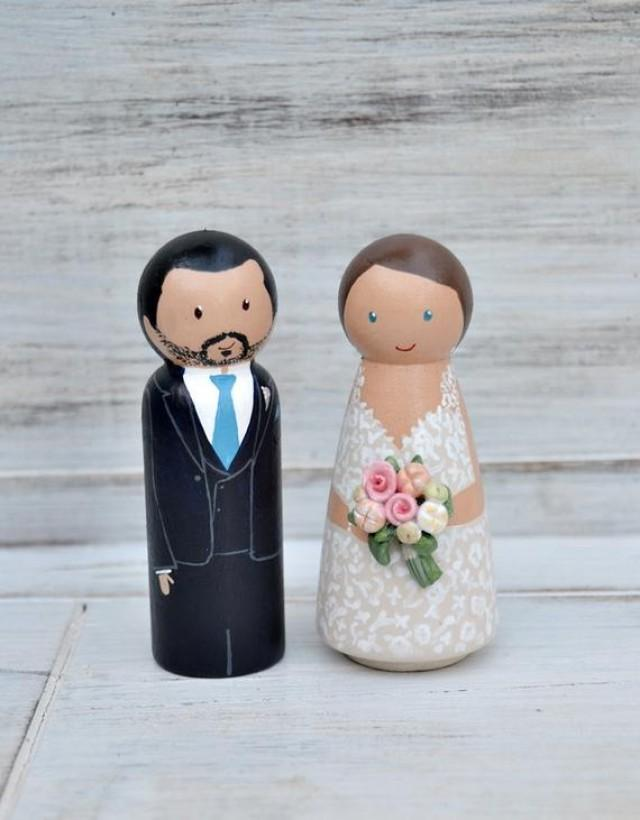 wedding photo - Wedding Cake Topper 3D Flowers, Wedding Cake Topper Peg doll, Unique Cake Topper Bride and groom, Personalized Cake Topper, Wedding Keepsake