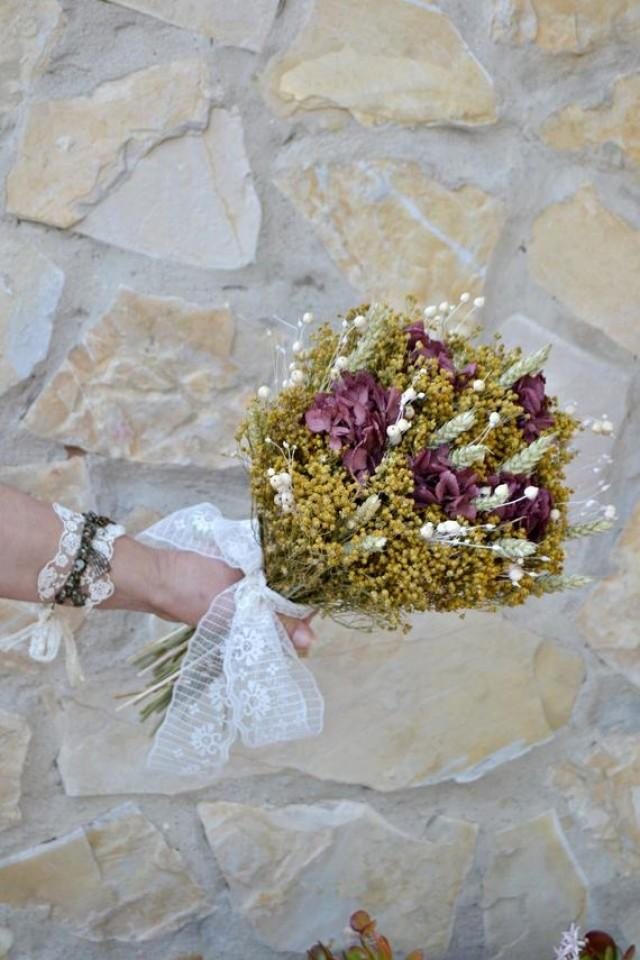 wedding photo - Wild Bridal Bouquet, Bohemian Wedding Bouquet, Dried Natural Flower Wedding Bouquet, Gold and Burgundy Wild Bouquet, Floral arrangement.