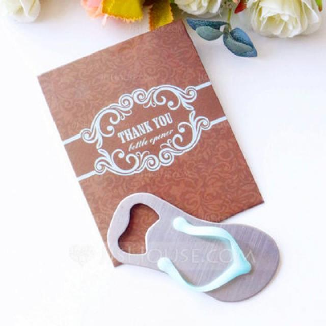 wedding photo - Beter Gifts® Flip Flop Bottle Opener in Thank You Giftbag Wedding Favors (Sold in a single piece) - JJ's House
