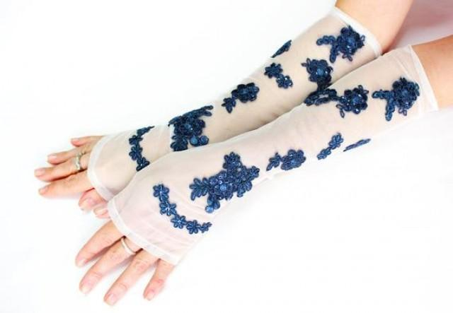 wedding photo - White royal blue long lace gloves, wedding accessories extra long gloves, bridal glove, fingerless glove, wristlet cuff glovelet, boho bride