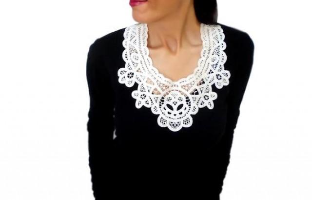 wedding photo - White lace statement bib necklace, floral collar wedding necklace, wearable art, christmas gift for her