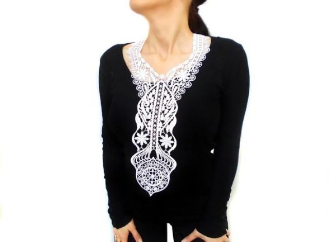 wedding photo - French lace bib necklace, white crochet necklace, statement bib, gothic fashion designer jewelry, wedding necklace, long necklace