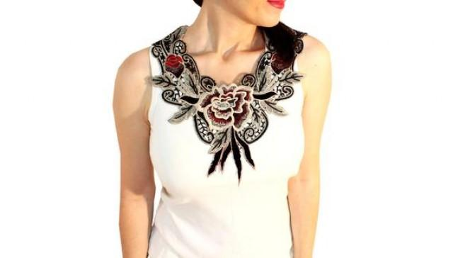 wedding photo - Handmade Unique Gifts Mom Gift Mother Gift Floral Necklace Venise Lace Necklace Lace Jewelry Bib Necklace Statement Necklace Body Jewelry