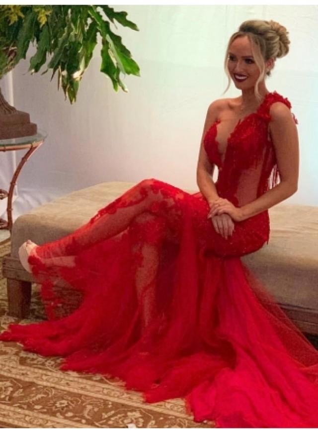 wedding photo - Sexy Abendkleid Lang Rot