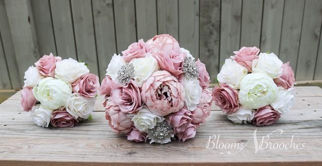 Dusty Rose and Ivory Wedding Bouquet, Wedding Flowers, Bridesmaid Bouquets, Corsage, bridal Flower Package