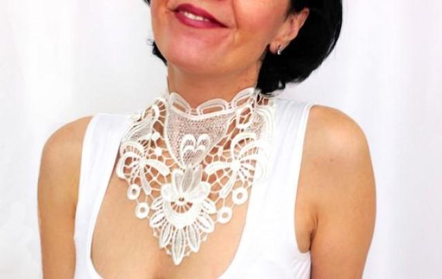 wedding photo - White handmade bridal choker, Wedding necklace Ivory white lace choker, Bridal jewelry, Bridal accessory, Wedding jewelry, White lace choker
