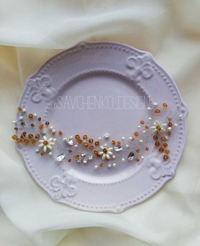 wedding photo - Bohemian headpiece with gold crystal