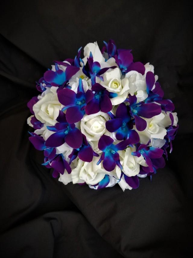 Purple blue galaxy orchid, hydrangea, real touch rose bridal bouquet, artificial flower bouquet, island orchid, singapore orchids