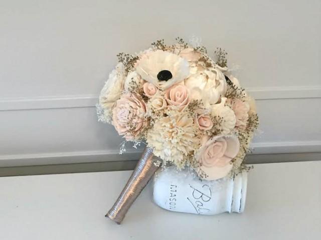 Blush pink and Anemone Wedding Bouquet - sola flowers - Custom colors - dried bouquet - Alternative bridal bouquet - bridesmaids bouquet