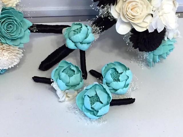 Boutonniere made with sola flowers - choose your colors - balsa wood - Alternative bouquet - bridesmaids bouquet