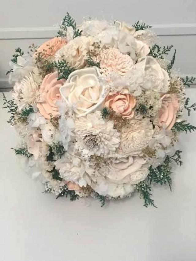 Peach Wedding Bouquet - sola flowers - Customize colors - gold - Alternative bridal bouquet - bridesmaids bouquet