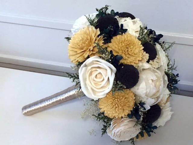 Gold, Navy Blue, Ivory Bouquet - sola flowers - Customize colors - Alternative bridal bouquet - bridesmaids bouquet
