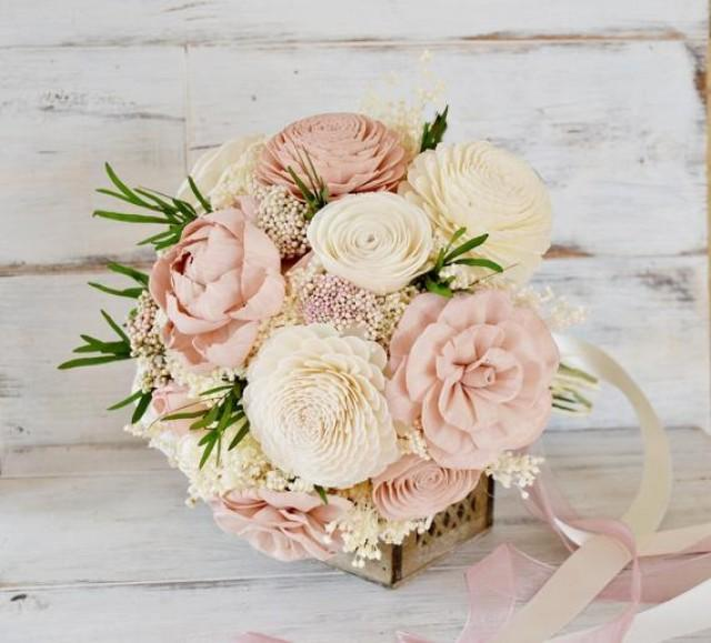 wedding photo - Sola Flowers Bouquet, Brides Bouquet, Blush Pink Sola Wood Flower Wedding Bouquet, Alternative Keepsake Bridal Bouquet, Preserved Flowers.