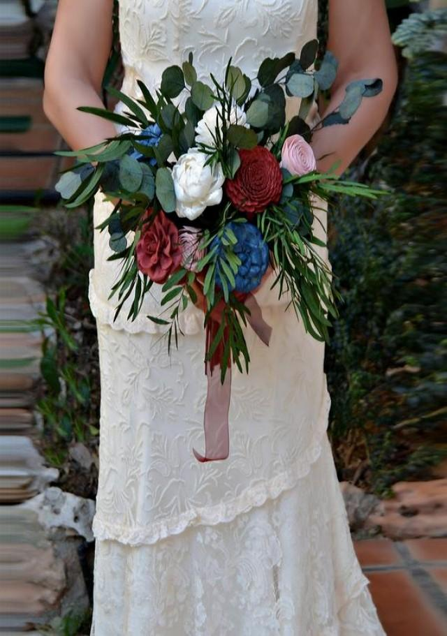 wedding photo - Bohemian Wedding Bouquet, Burgundy Blue Sola Wood Bouquet, Preserved Eucalyptus Bride Bouquet, Bridal Bouquet, Boho Southwestern bouquet.