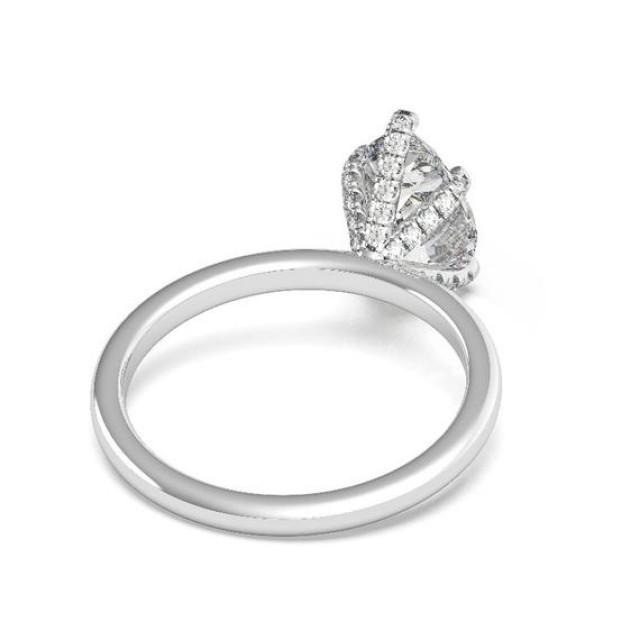 wedding photo - 3.50 Carat Pear Moissanite & Diamond Prongs Solitaire Engagement Ring 14k White Gold, 12x8mm Moissanite Engagement Ring, Raven Fine Jewelers