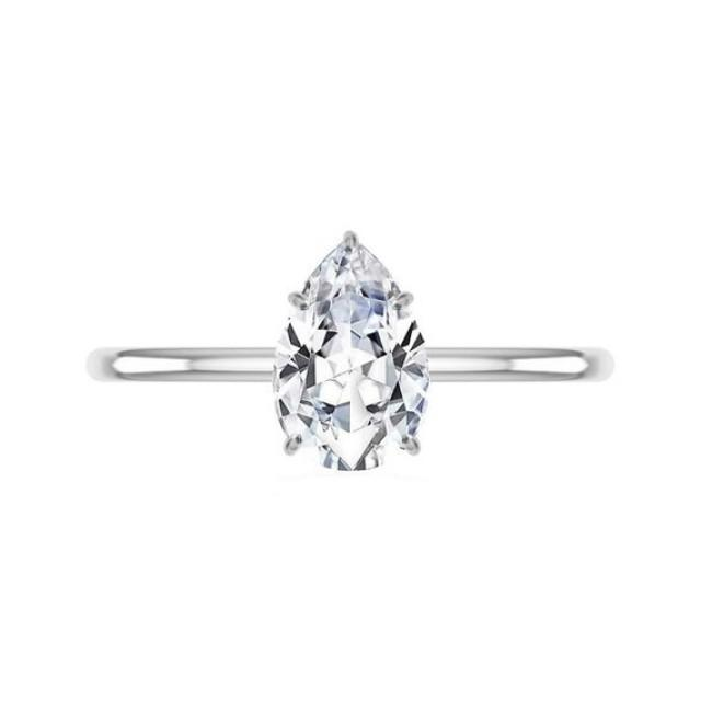 wedding photo - 1.50 Carat Pear Moissanite & Diamond Prongs Solitaire Engagement Ring 14k White Gold, 9x6mm Moissanite Engagement Ring, Raven Fine Jewelers