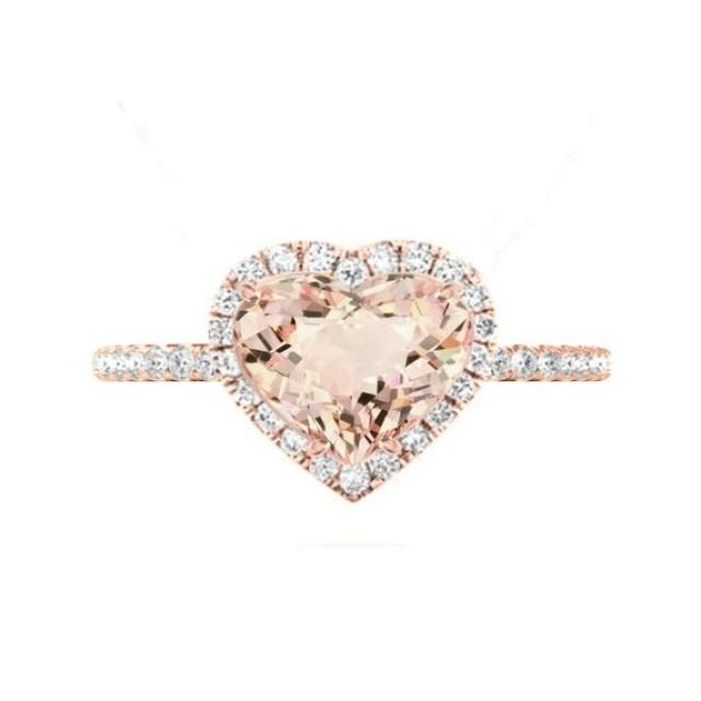 wedding photo - 3 Carat Heart Morganite & Diamond Halo Cathedral Engagement Ring 14k Rose Gold, Morganite Engagement Rings, Raven Fine Jewelers