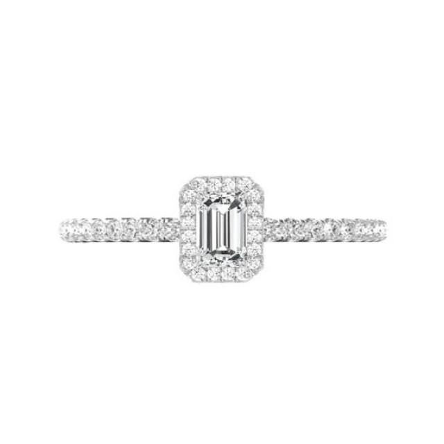 wedding photo - GIA Certified 1 Carat Emerald Diamond & Halo Engagement Ring 14k White Gold, Handcrafted Engagement Rings, Raven Fine Jewelers