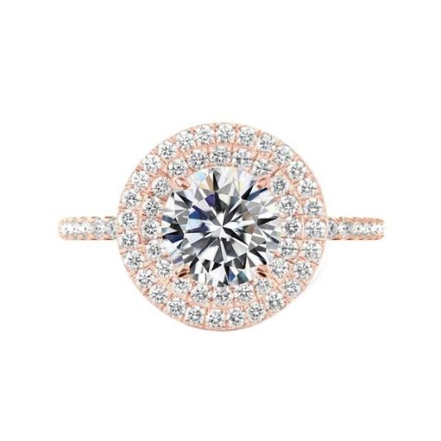 wedding photo - 4 Carat Round Moissanite & Diamond Double Halo Engagement Ring 14k Rose Gold, 10mm Moissanite Engagement Ring, Raven Fine Jewelers