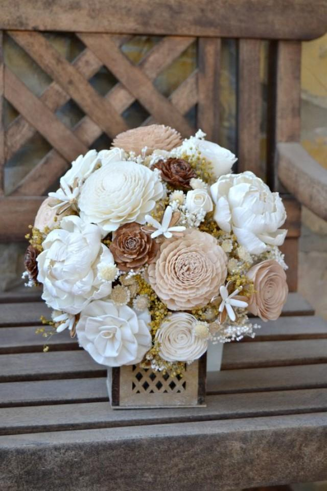 wedding photo - Rustic Woodland Wedding Bouquet, Sola Flowers, Dried flower bouquet, Ivory Wood Bride Bouquet, Wooden Flowers, Alternative Bride Bouquet.
