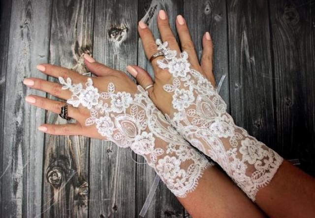 wedding photo - Lace gloves wedding, bridal white gloves fingerless lace gloves, bridal accessories, french lace, unique gifts for women, Wedding Gifts