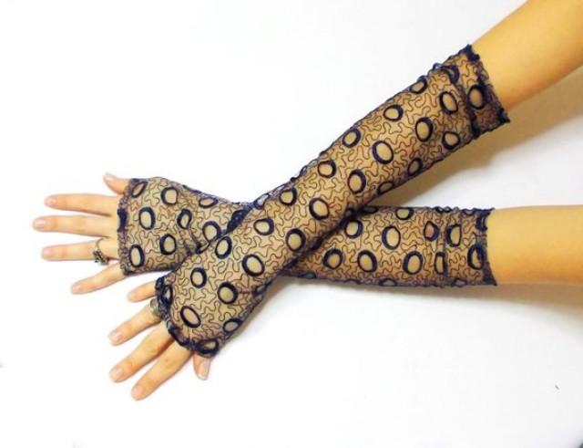 wedding photo - Dark Blue Lace Fingerless Gloves Long Navy Blue Opera Gloves Wedding Gloves Belly Dance Costume Glove Boho Bride Gloves Prom Gloves Gift Her