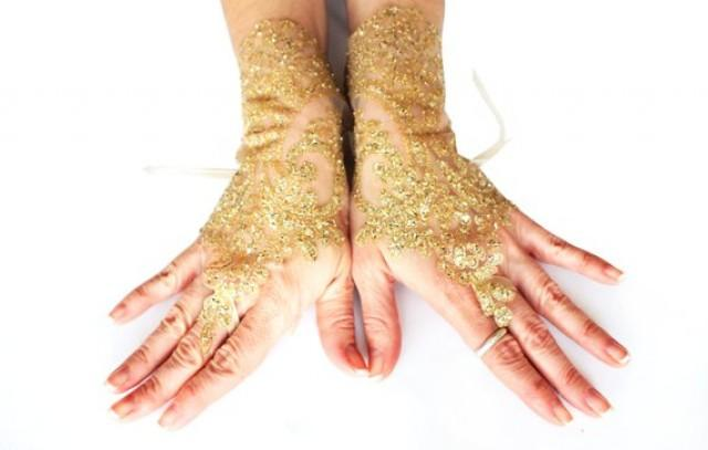 wedding photo - Gold lace gloves, wedding lace gloves, bridal gold glove, french lace burlesque gloves, gold lace fingerless gloves, sequin glove, gauntlet