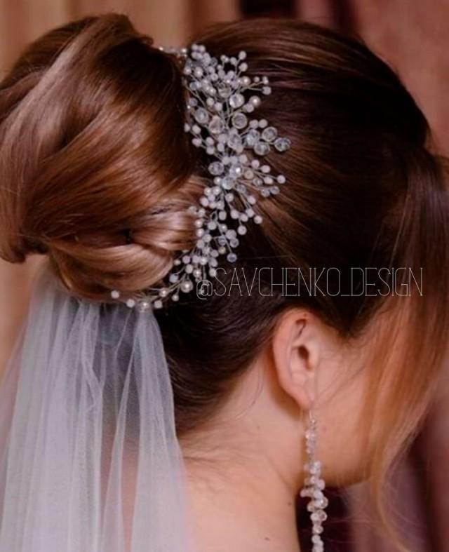 wedding photo - Pink Wedding hair piece-Crystal Wedding Hair Comb-Rose gold Bridal Hair vine-Swarovski haarschmuck braut-aurora borealis hair accessories