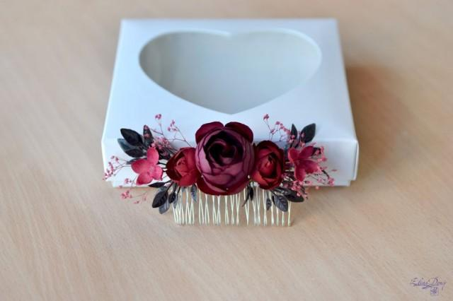 wedding photo - Dark red hair comb Maroon floral headpiece Burgundy flower comb Bridesmaid hair piece Deep red Wedding flowers hair Bride autumn comb