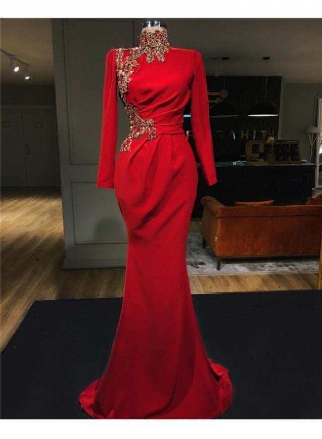 wedding photo - Abendkleid Rot Lang Günstig