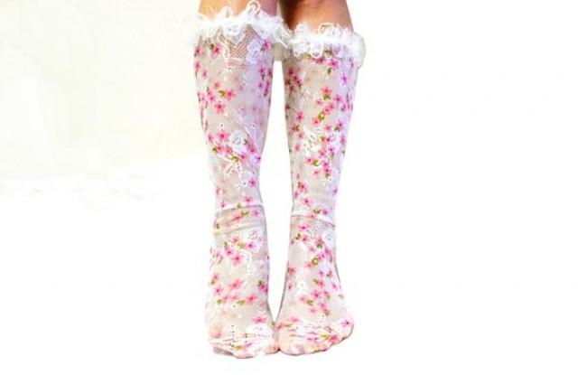 wedding photo - Unique Gifts for Her Long Lace Socks Wedding Socks Bridal Socks Fashion Socks Sexy Pink Flower White Tulle Socks Mesh Socks Valentines Gifts
