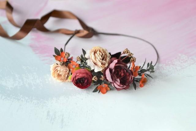wedding photo - Beige flower crown Autumn wedding crown Red orange flower hairband beige floral headband Bridesmaids flower Crown Bride headband