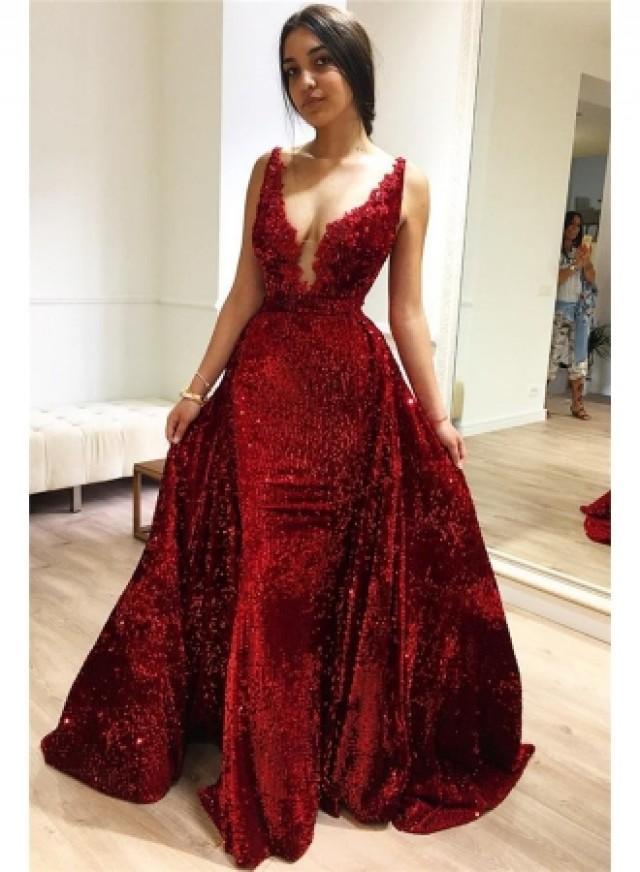 wedding photo - Elegante Abendkleider lang V Ausschnitt