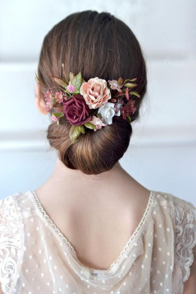 wedding photo - Beige white burgundy flower comb Bridal hair comb Burgundy rose hair Wedding accessory hair back Floral headpiece Bride hair comb