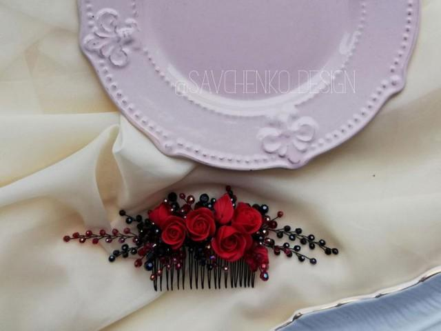 wedding photo - Wedding red and black hair comb