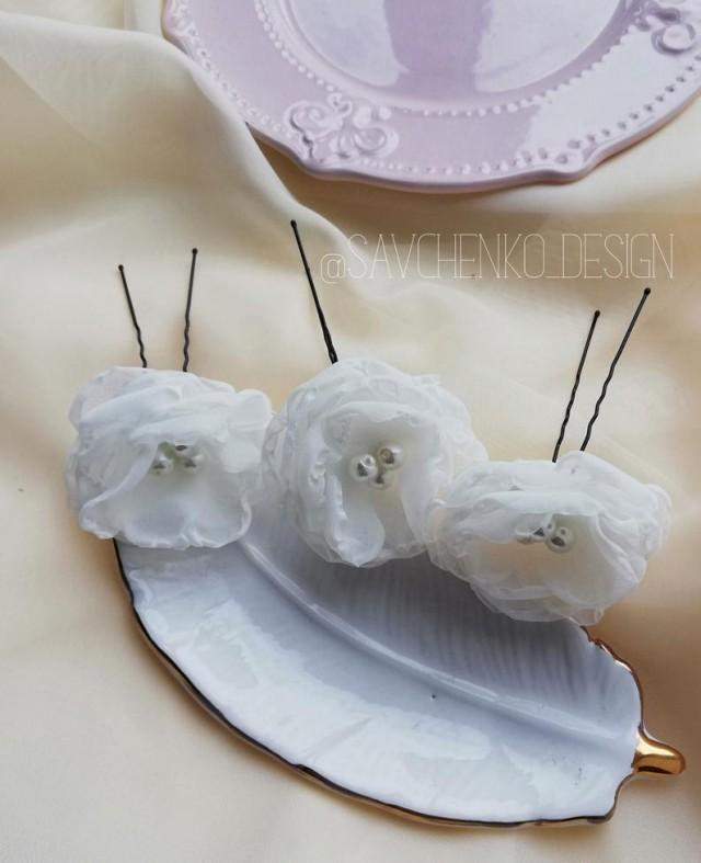 wedding photo - chiffon flower headpiece