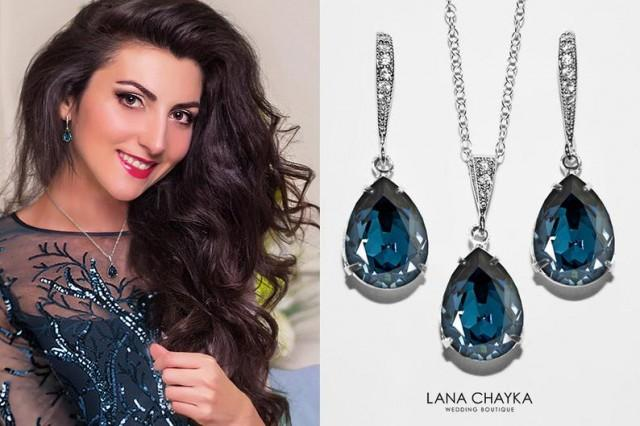 wedding photo - Navy Blue Crystal Jewelry Set, Swarovski Montana Blue Silver Set, Dark Blue Earrings&Necklace Bridal Set, Prom Jewelry, Bridesmaids Jewelry
