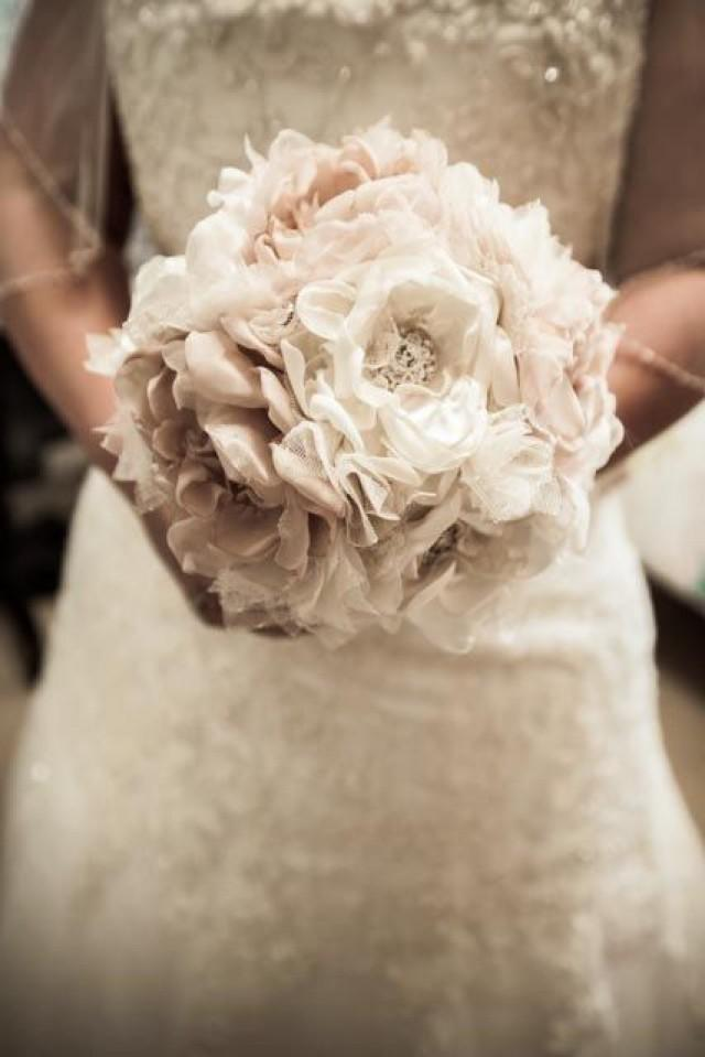 Wedding Bouquet Vintage Inspired Fabric Flower Brooch Bouquet  Ivory Champagne With Pearls Rhineston