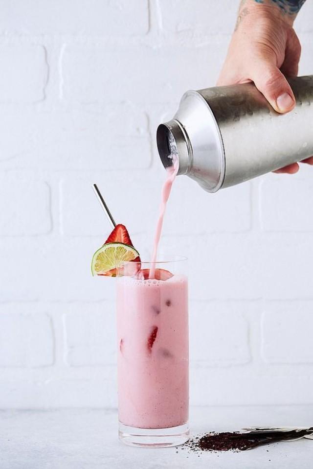 Coconut Vanilla Bean Shaken Hibiscus Iced Tea Latte (Paleo, Keto, Vegan)