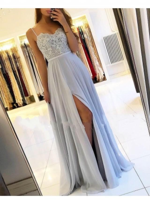 wedding photo - Sexy Silber Abendkleider Lang Chiffon