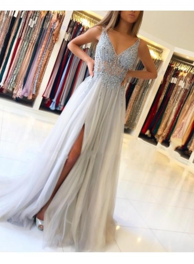 wedding photo - Elegante Silber Abendkleider Online